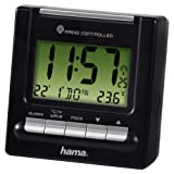 Hama RC200 Reise Funk Wecker (Thermometer, Hintergrundbeleuchtung, zwei Weckzeiten, automatische Zeitanpassung) schwarz