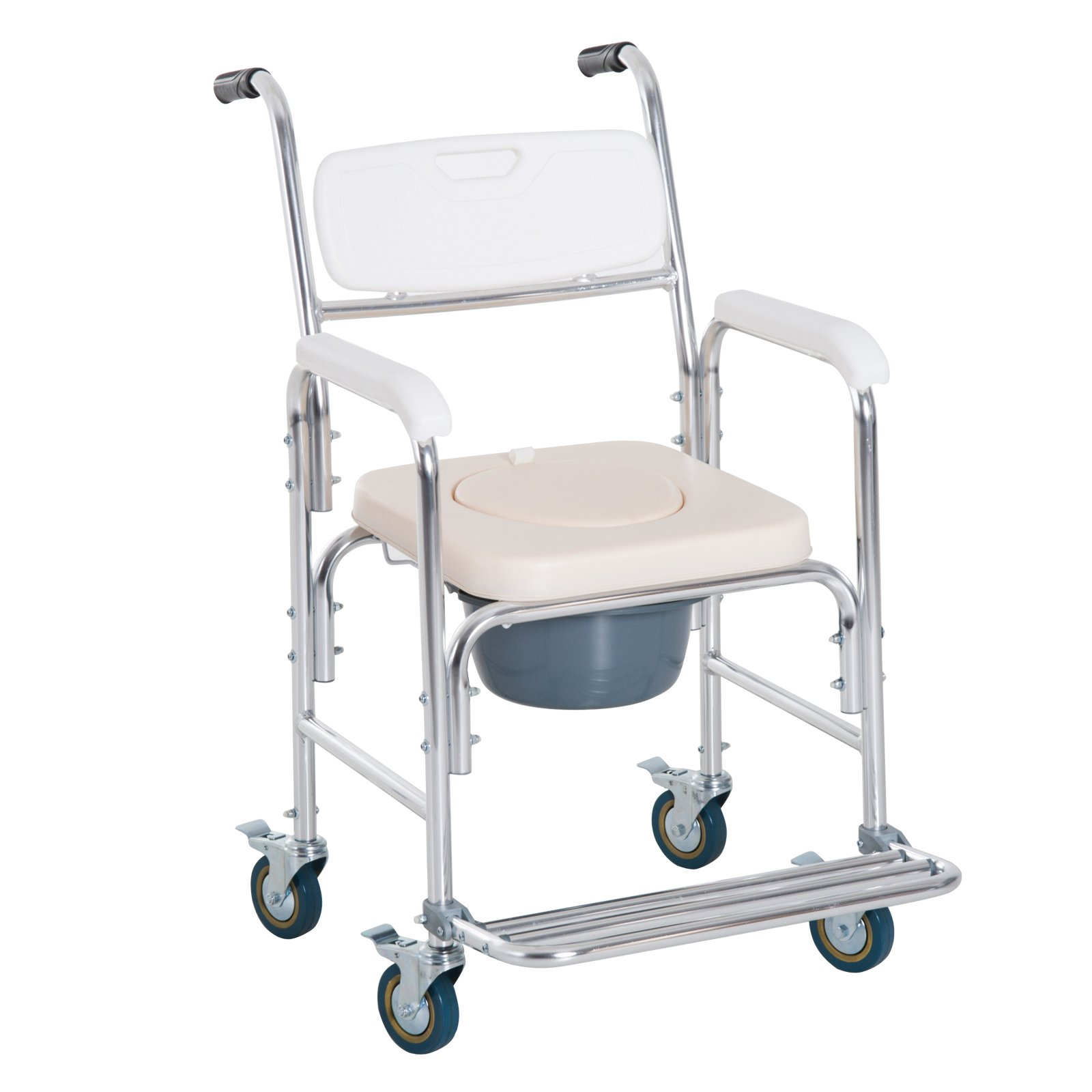 HomCom Personal Mobility Durable Waterproof Shower Accessible Transport Commode Medical Rolling Chair by HOMCOM