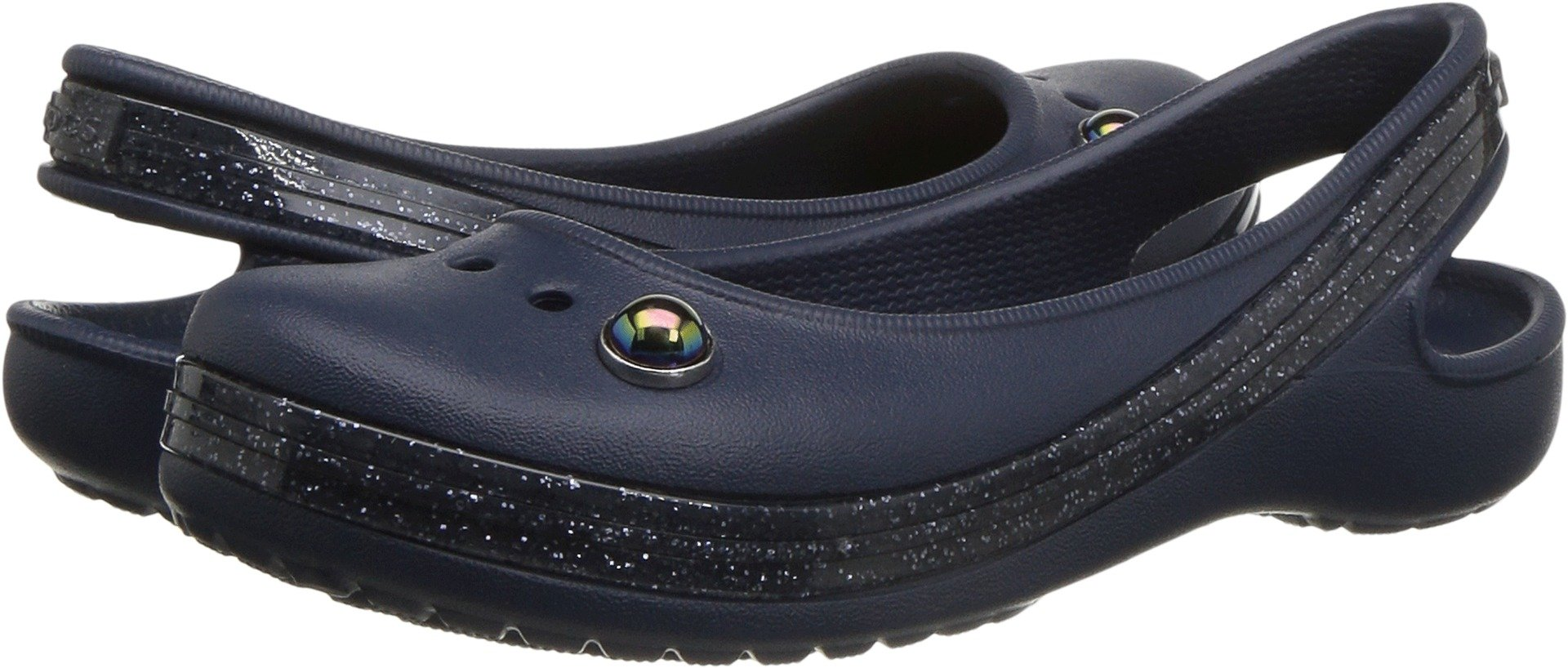 Crocs Girls' Genna II Sprkl BND Slng K Ballet Flat, Navy, 11 M US Little Kid