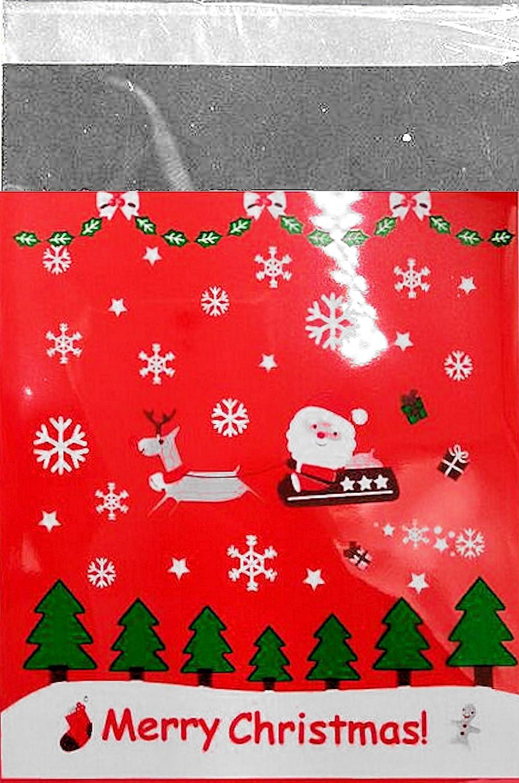 25 PZ. Sacchetto di cellophane + + Babbo Natale + + 10 x 10 cm, chiusura autoadesiva, per biscotti, piccoli regali ecc. Cellophane tuete Natale Unbekannt 20340a