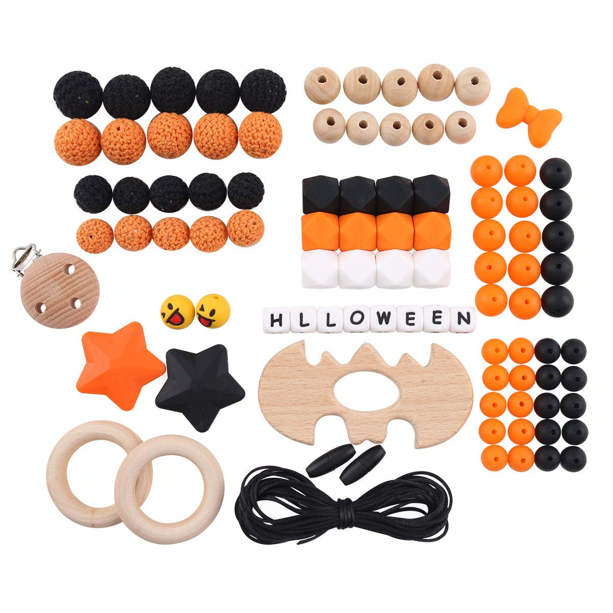 HAO JIE Baby DIY Halloween Wooden Bat Teething Kit Silicone Teether Beads Necklace Making Accessories