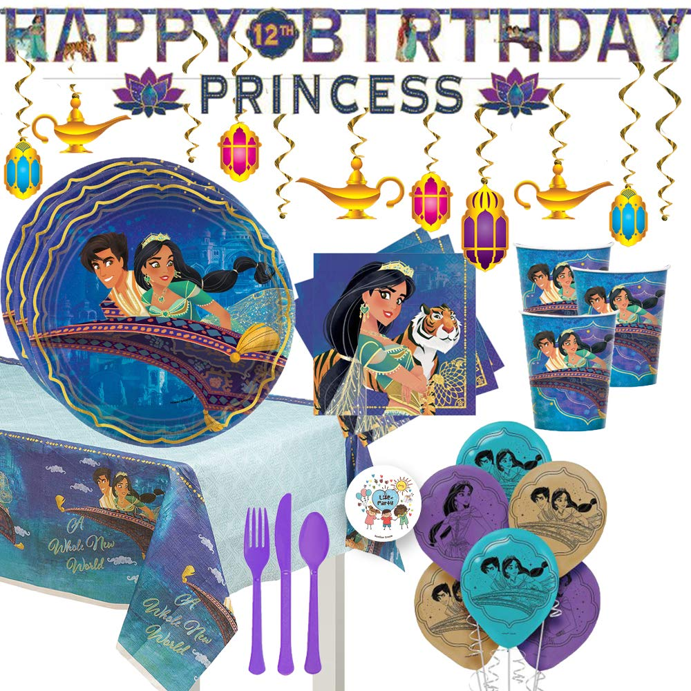 Aladdin and Princess Jasmine Birthday Party Supplies and Decorations Pack For 16 With Plates, Cups, Napkins, Tablecover, Balloons, Banner, Latern Swirls, Cutlery, and Exclusive Pin by Another Dream