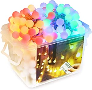 Christmas Globe String Lights with RF Remote and Reusable Storage Box , 66ft 150 Led String Lights Warm White Color Changing Outdoor Waterproof Fairy Lights for Bedroom Decor Christmas Decorations