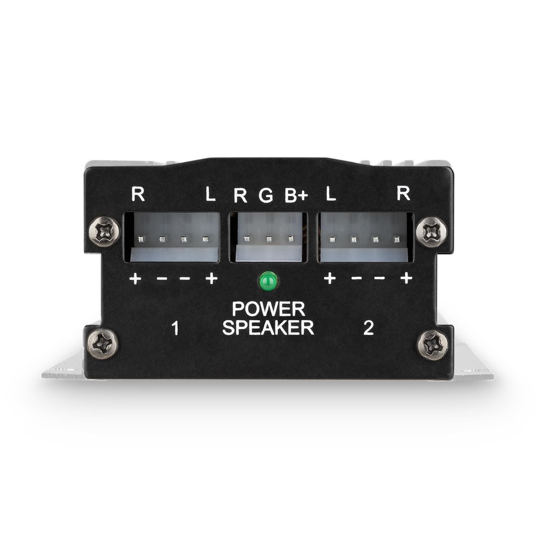 oneConcept A4 /• Car HiFi Verst/ärker /• 4-Kanal Auto-Endstufe /• Car Amplifier /• 4 x 30 Watt RMS-Leistung /• Hoch 20 Hz bis 20 kHz /• schwarz und Tiefpass-Filter /• Frequenzgang
