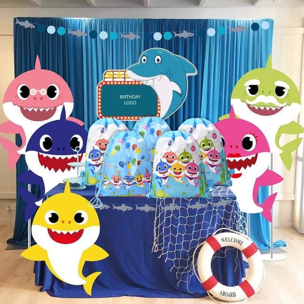 Shine Party 12 Paquetes de Bolsas de Regalo para Las Bolsas de Fiesta de Tiburones con Cordones, golosinas para Dulces de Regalo Mochila para de ...
