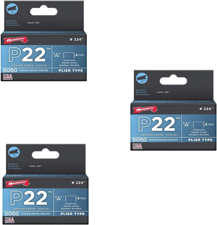 P22 Plier Type Staples 5050//Box Arrow Fastener  224 5 Pack 1//4in