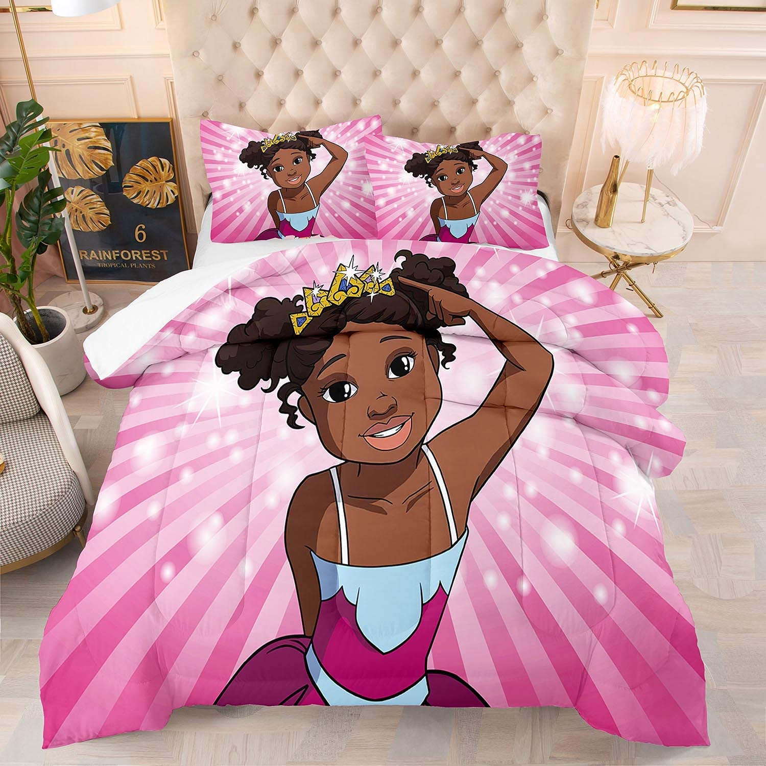 Cute Black Girl Comforter Set Twin Size African American Kids Bedding Quilt Sets Pink for Girls Birthday Gift Ultra Soft ,1 Comfoter +1 Pillowcase