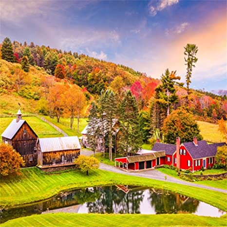 LFEEY 8x8ft Peaceful Country Farm Backdrop Seasonal Colored Rural Autumn Vermont Farmland Hills Forest Scenic Landscape