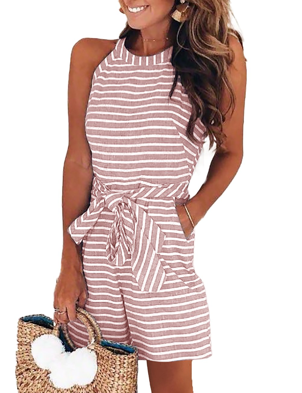 DUBACH Women Casual Striped Sleeveless Short Romper Jumpsuit S Pink