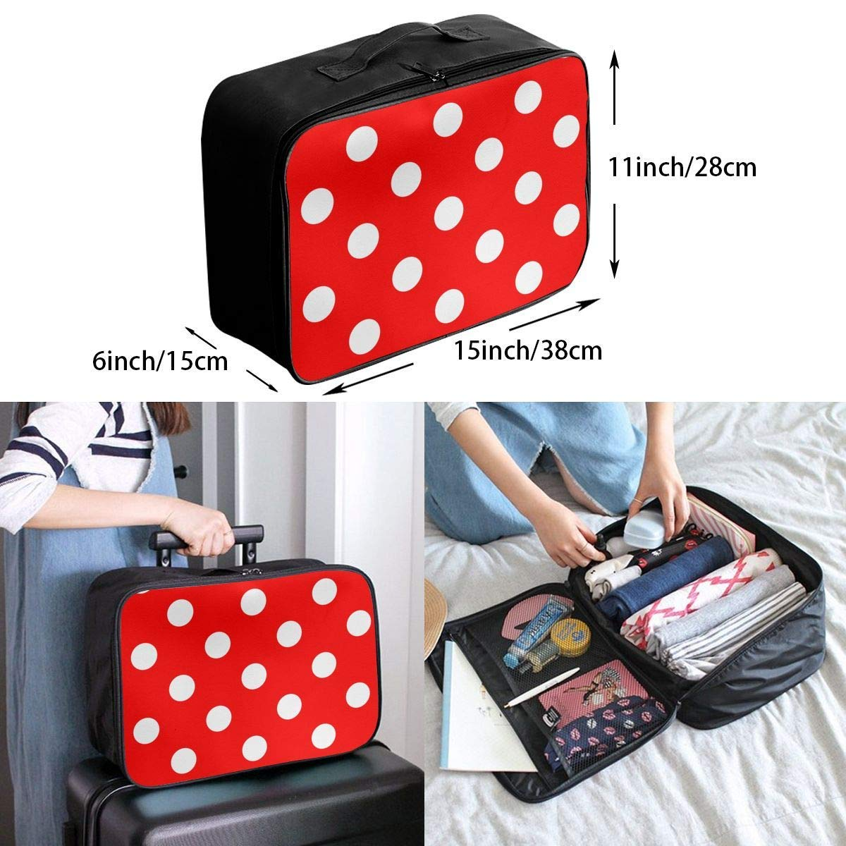 JTRVW Luggage Bags for Travel Travel Duffel Bag Waterproof Fashion Lightweight Large Capacity Portable Duffel Bag for Men /& Women Polka Dot Red