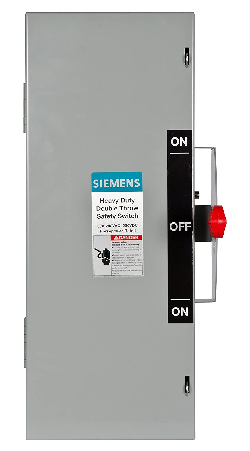 Siemens DTNF321 30-Amp 3 Pole 240-volt 3 Wire Non-Fused Double Throw Safety  Switches - Wire Terminals - Amazon.com