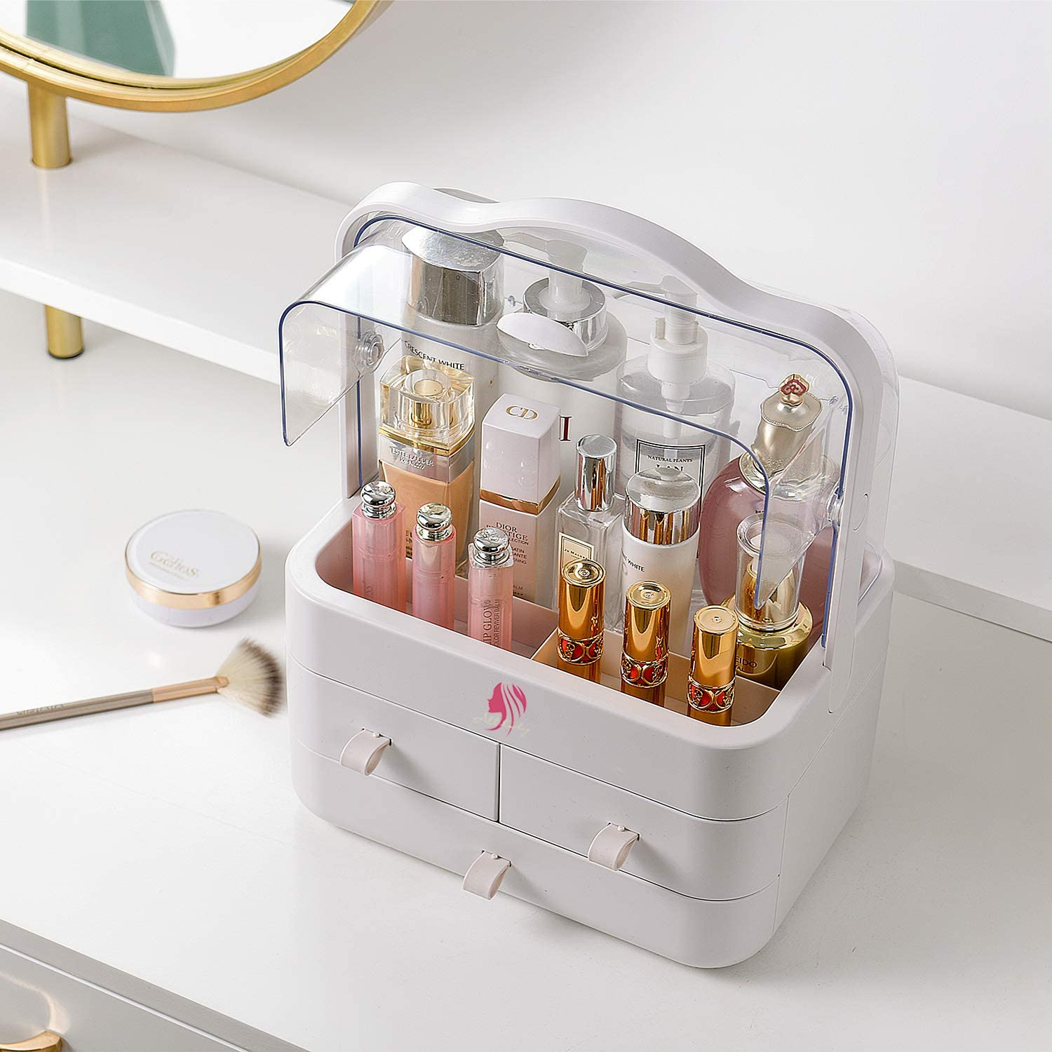 Clear Cosmetic Storage Organizer - Cosmetic Display Cases, Jewelry and Hair Accessories. Looks Elegant Sitting on Your Vanity, Bathroom Counter or Dresser. Clear Design for Easy Visibility (White): Home Improvement