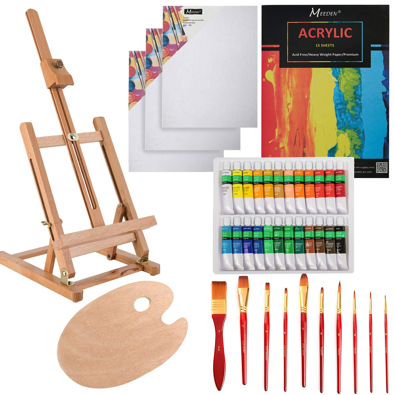 MEEDEN 40-Piece Acrylic Painting Set - Solid Beech Wood Table Easel, Canvas Panels, Acrylic Paintbrush Set, 24 Colors Acrylic Paint Tubes, Acrylic Pad, Wood Paint Palette, Perfect Gift for Kids by MEEDEN