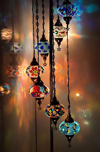 Blue Star Turkish Floor Lamp Floor Standing Lamp Moroccan Lamp 61 Height 7 Pcs Customizable Globes. Bedside Mosaic Standing Lamp