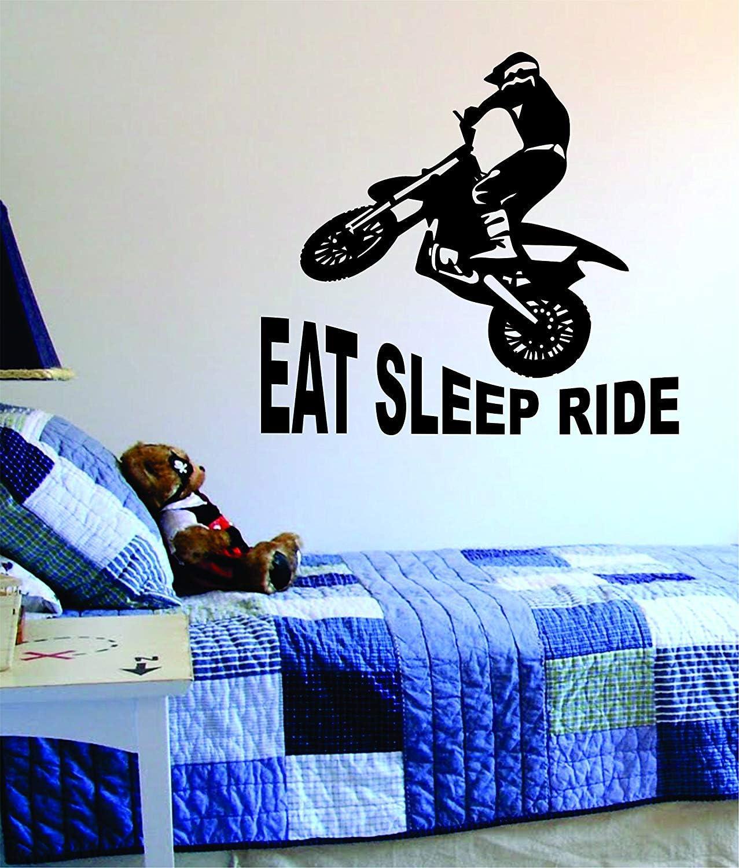 Eat Sleep Ride Dirtbike Original Quote Decal Sticker Wall Vinyl Art Decor Bedroom Living Room Kids Teen Sports Moto X Dirt Motorcycle Race