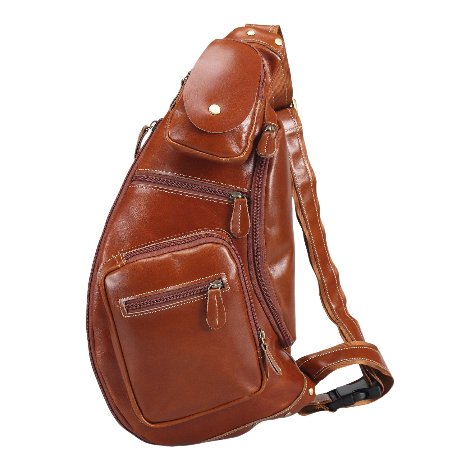 Polare Cool Real Leather Cross Body Sling Bag Backpack Large (dark brown)