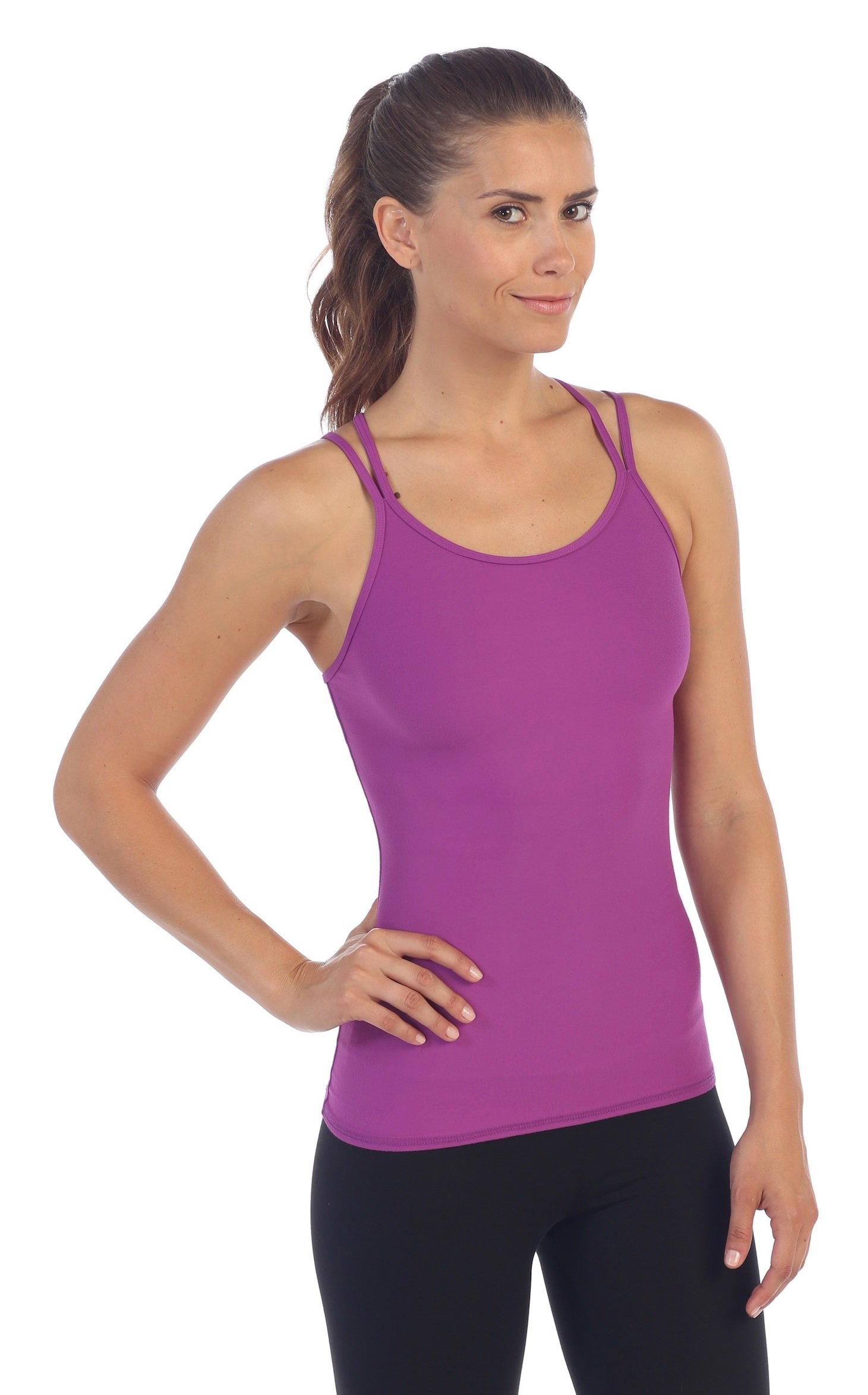 American Fitness Couture Summer Sale Womens Strappy Back Workout Tank Top, Orchid L by American Fitness Couture (Image #3)