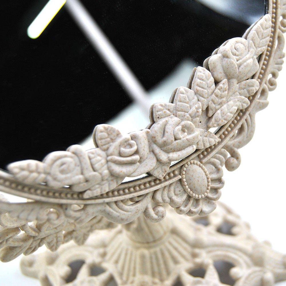 GF Wood Women Makeup Mirror Vintage Floral Oval Round Handhold Mirror Princess Elegant Makeup Beauty Tools,White,Round