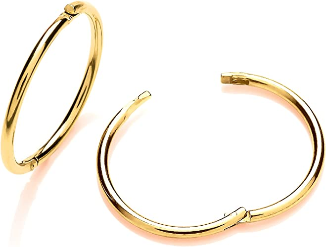 Brand New 9ct Gold Plain 12mm Hinged Sleeper Earring boxed