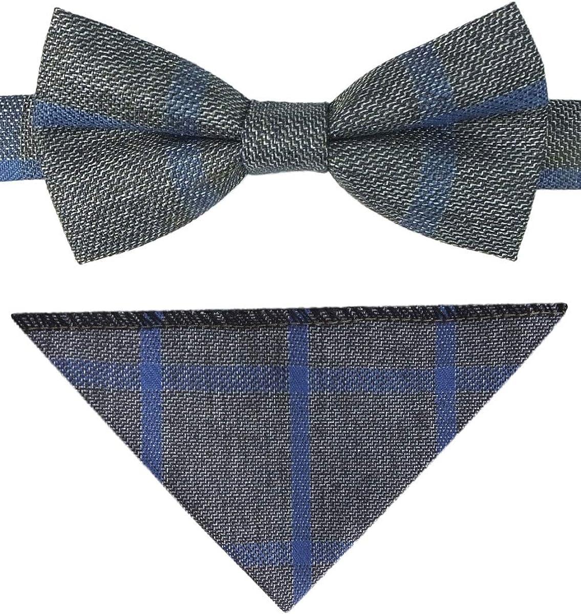 Flamingo Boys Check Tweed Bow Tie and Pocket Square Set