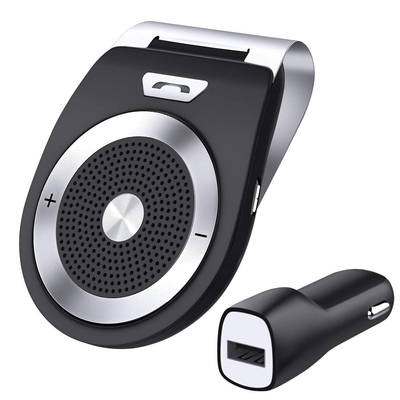 Aupolo Freisprecheinrichtung Car-Kit V4.1 Bluetooth Visier Freisprechanlage Auto Lautspreche Musik Empfä nger Bau in Mic Pair Zwei Gerä t fü r iPhone 6 6s 7, Samsung,iPod