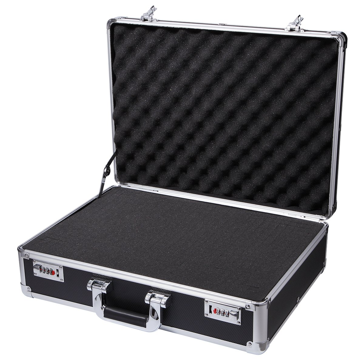 Aluminum Hard Case Foam Black Briefcase ToolBox Carrying Case Portable Tool Case