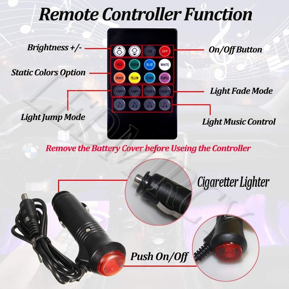 Auto LED-Strip-Leuchten 48 LED 12V RGB Car Interior Footwell Lights LED Car Multi-Color Atmosphere Neon Lights Mit Sound Active Funktion Wireless Remote Control