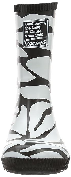 Viking CLASSIC INDIE ZEBRA, Unisex-Kinder Langschaft Gummistiefel, Weiß (Black/White 201), 23 EU