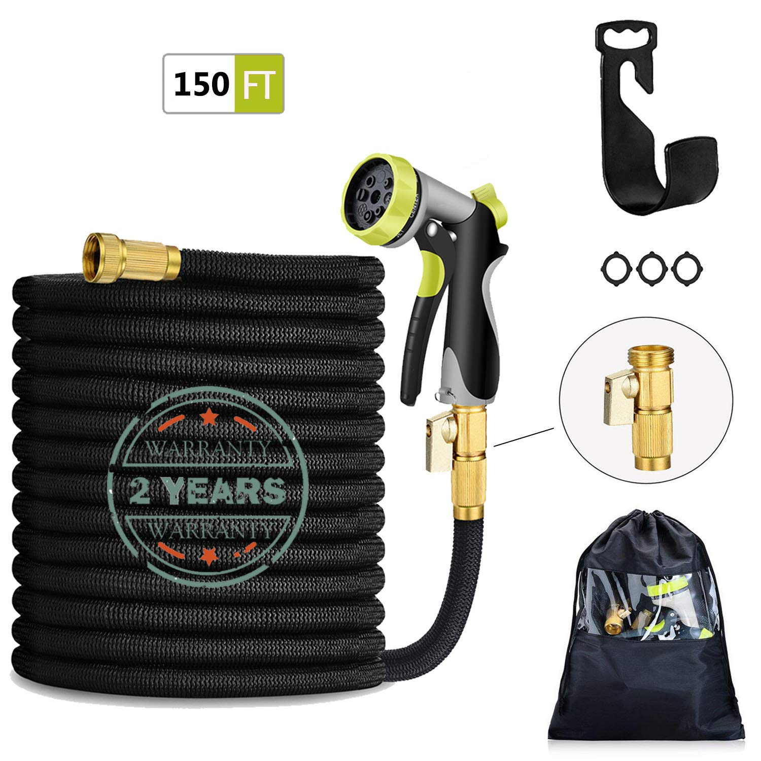 "HmiL-U 150FT Expandable Garden Hose-Strongest Water Hose with Double Latex Core, 3/4"" Solid Brass Fittings, 4-Layers Latex,3750D Extra Strength Fabric Heavy Duty 8 Adjustable Watering Patterns."