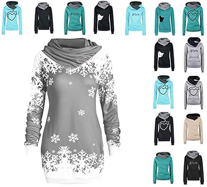Elecenty Damen Kapuzenpullover,Frauen Kapuzenpullis Outerwear mit Kapuze Revers Sweatshirt Sweater Lose Wintermantel Pullover Sweatjacke