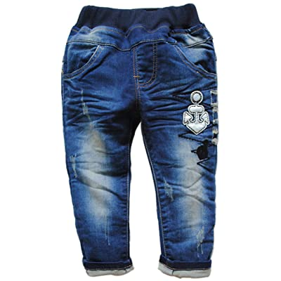 3801 soft navy blue baby jeans boy girls casual pants trousers spring autumn