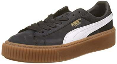 best website 2d603 3c5ca Puma Basket Platform Perf Gum, Sneakers Basses Femme, Noir Black-White-Gold