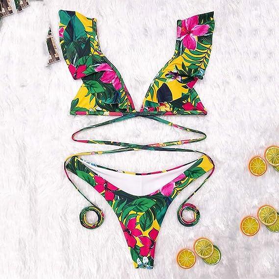 a3e3889446 Amazon.com  Two Piece Ruffles Flounce Bikini Swimsuit for Women ...