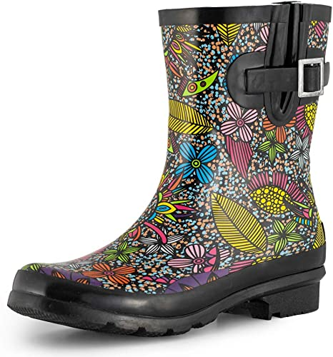 SheSole Womens Wellibob Short Height Printed Wellie Boots in BLACK FLORAL PRINT