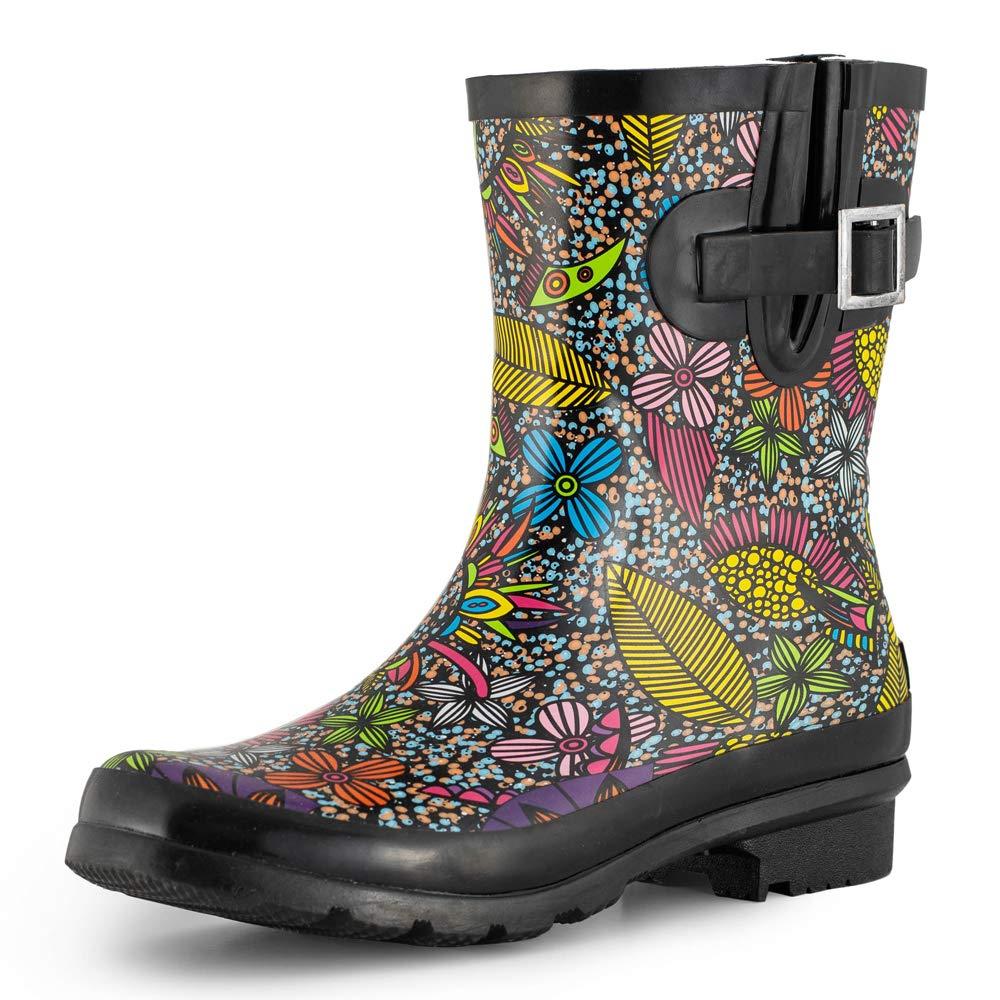 SheSole Women's Waterproof Rubber Short Rain Boots Black