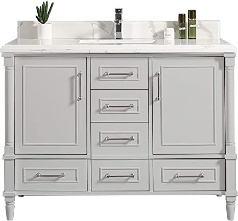 Amazon Com 48 X 22 Willow Collections Aberdeen Bathroom Vanity In Coventry Gray With 4cm Beveled Edge Calacatta Quartz Kitchen Dining