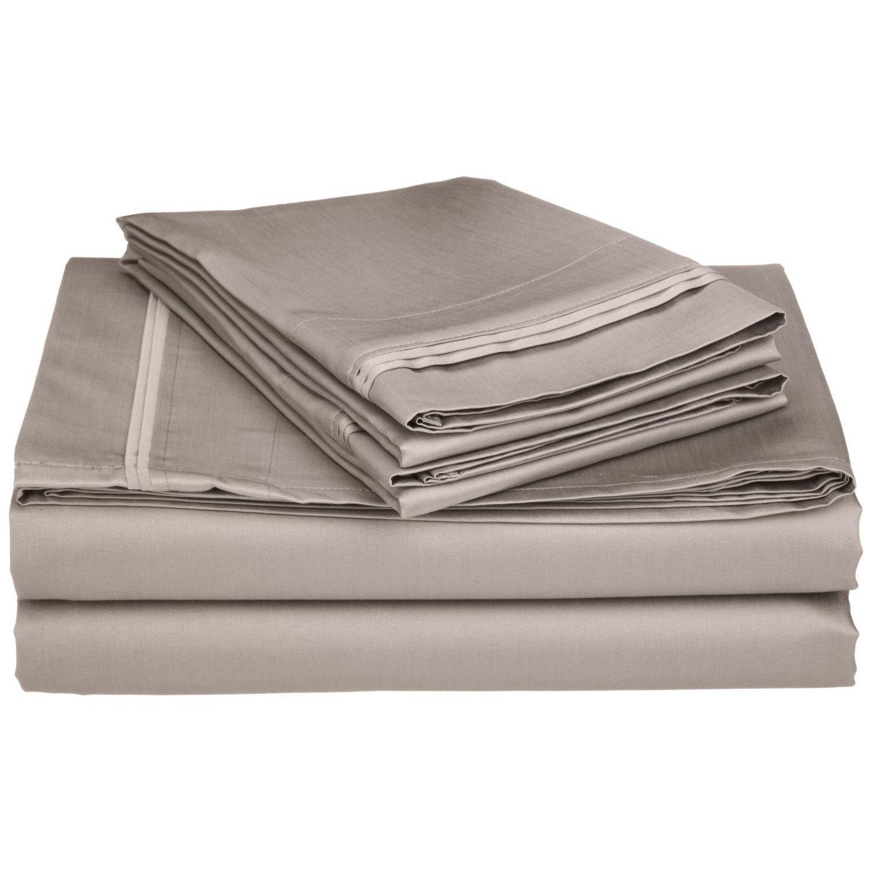 Superior - Juego de sábanas 152 x 203 cm, esquineras profundas, de algodón de 650 hilos y de un solo cabo, color gris liso, 4 piezas: Amazon.es: Hogar