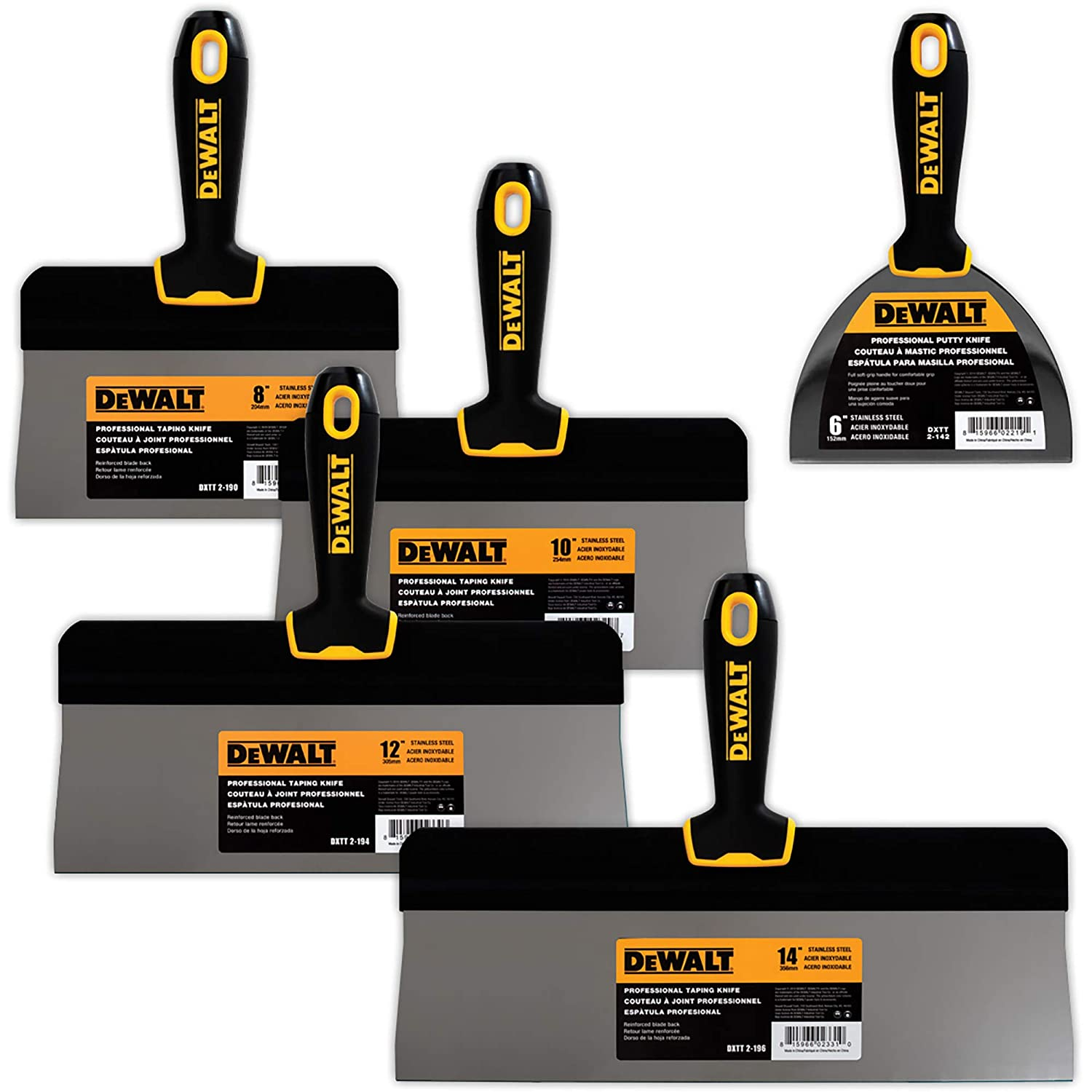 "DEWALT Stainless Steel Big Back Taping Knife 4-Pack + FREE BONUS 6"" Soft Grip Putty Knife 