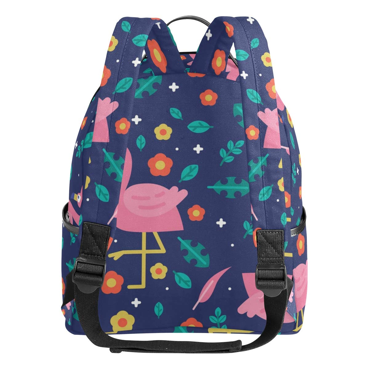 Flamingo Forest Leaves Flower School Backpack Canvas Rucksack Large  Capacity Satchel Casual Travel Daypack for Kids Girls Boys Children  Students 7179899eac4cb