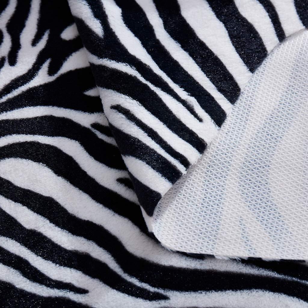 Fenteer Scendiletto Morbido Finta Pelle Animale Stampata Tappeto Antiscivolo in Poliestere Zebra