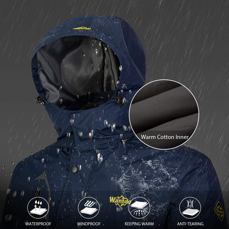Wantdo Mens 3 in 1 Mountain Ski Jacket Waterproof Warm Puffer Winter Snow Rain Coat