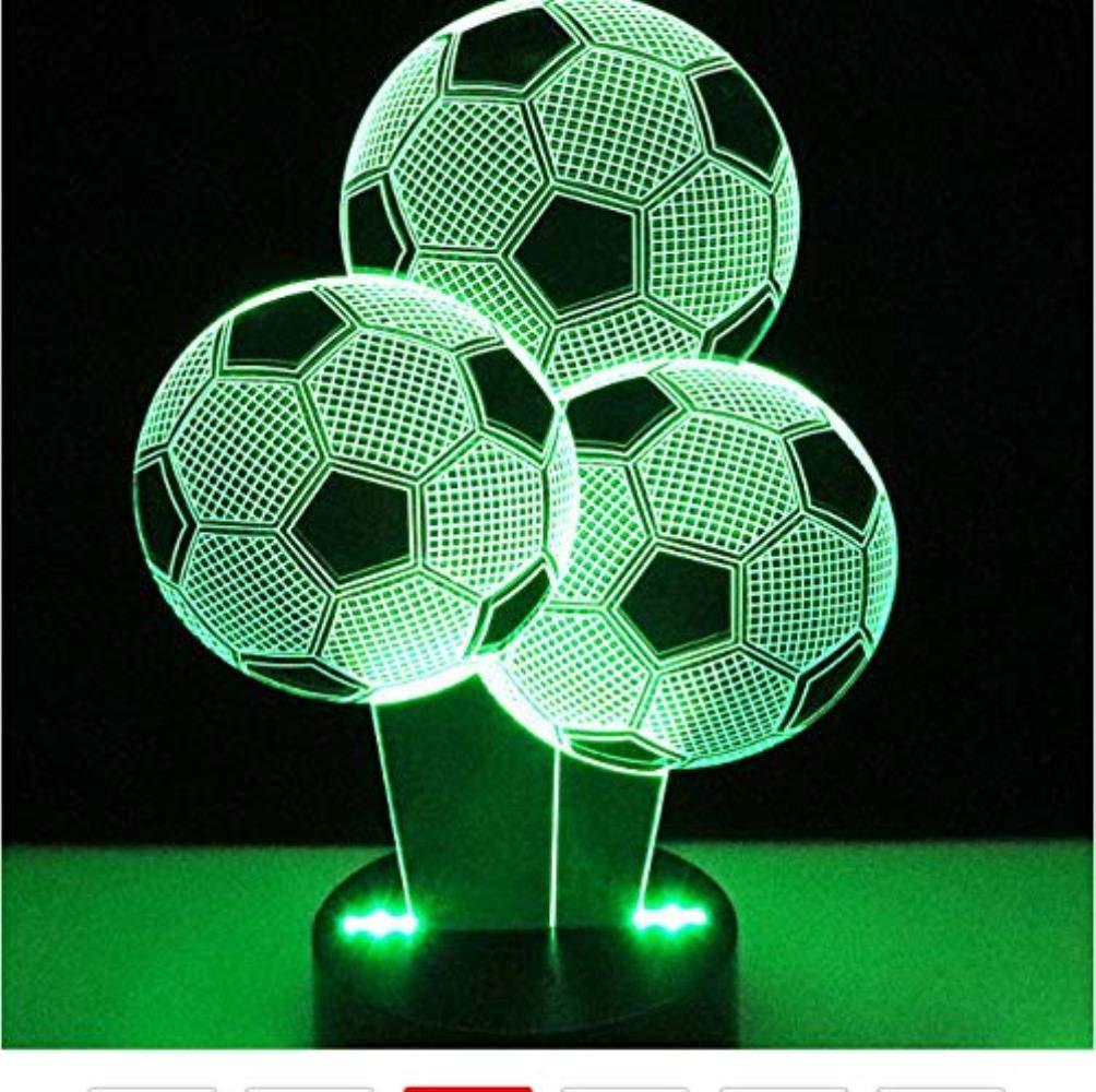 Lámpara LED de noche con diseño de balón de fútbol en 3D, con 7 ...