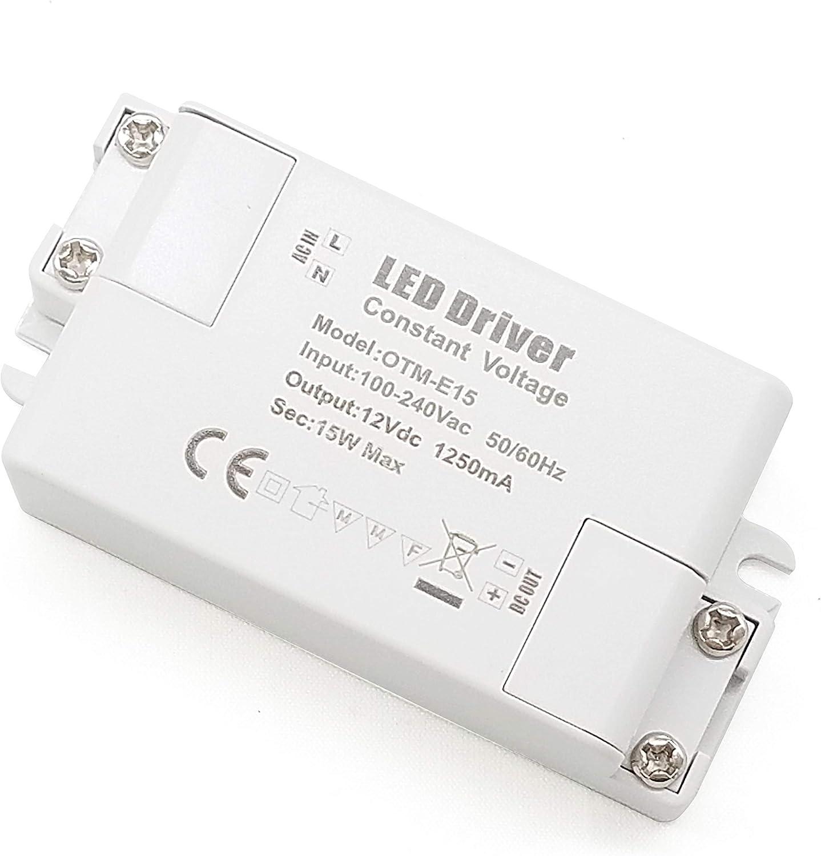 YAYZA! 2-Paquete Transformador de Conductor LED de Bajo Voltaje IP44 12V 1.25A 15W Fuente de Alimentación Conmutada de CA/CC