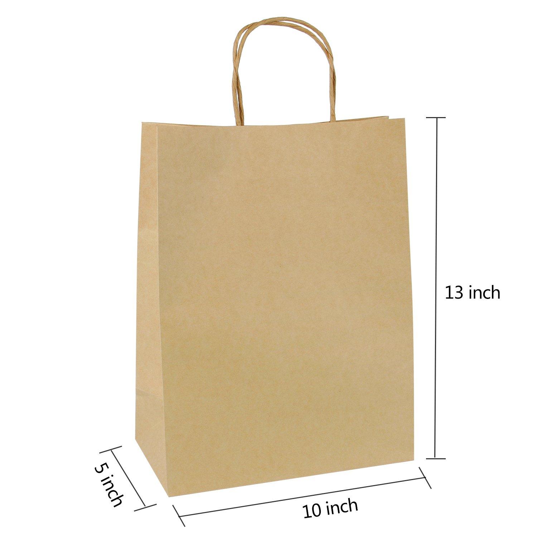 LaRibbons Gift Bulk with Handles Kraft Paper Bags 10 x 5 x 13 Brown 24 Pack