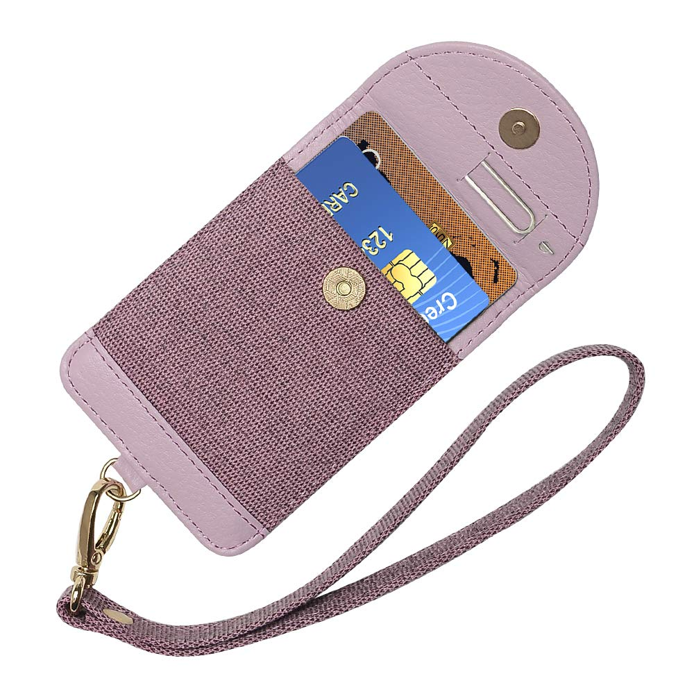Credit Card Cash Holder Stick on Cell Phone Leather Wallet 3M Adhesive Sleeve Compatible with iPhone Samsung Smartphone Black Doormoon Phone Wallet with Strap
