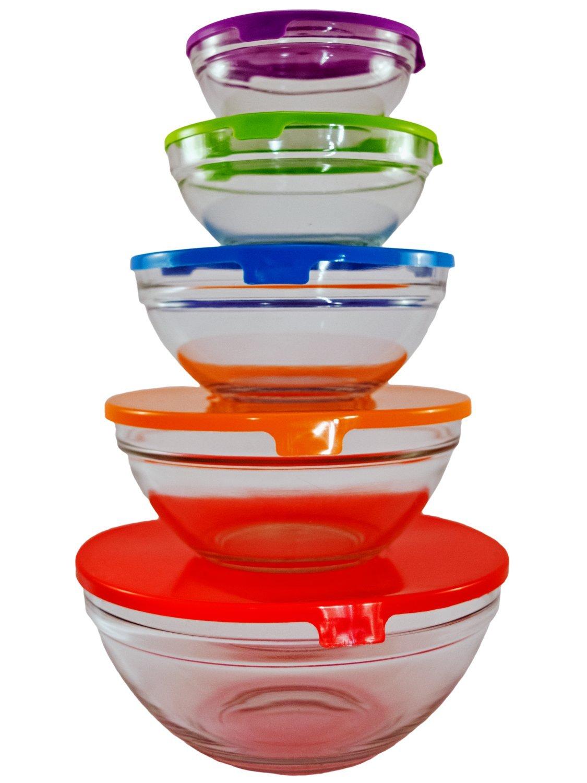 TukTek 10 Piece Glass Cooking & Storage Bowl Set for Snacks & Vegetables with Lids