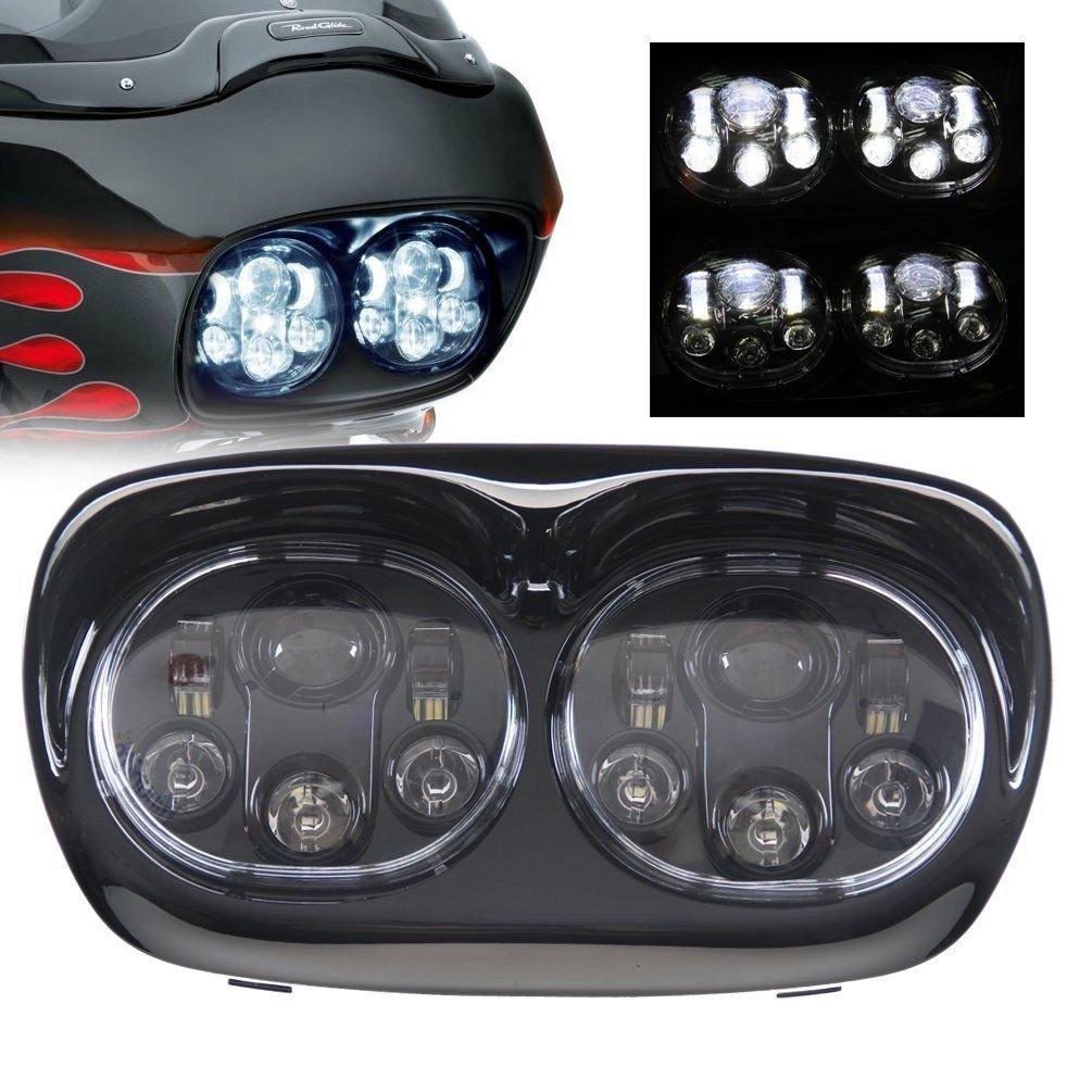 SILIVN Harley Davidson用 ハーレー ダビッドソン 双頭 LEDヘッドライトhi/lo 90W インナーブラック 一セット IP67防水 一年保証付き B06XP994LZ  ブラック