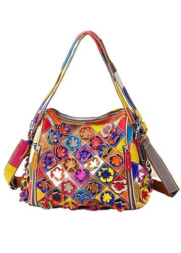 Multicolor Downupdown Crossbody Women Fashion Messenger Mix Color Flower Cowhide Leather Bags Women Crossbody Bag Trunk Tote Shoulder Bag Pack Handmade