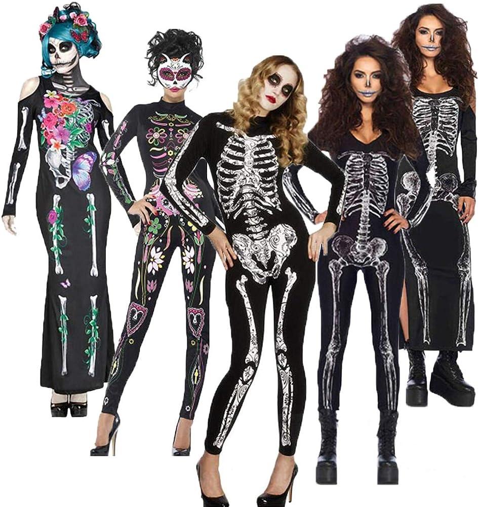 Lecoyeee Disfraz Día de los Muertos Mujer Mono Esqueleto Zombie ...