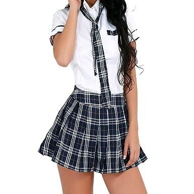 3e2e053509a6a9 Freebily Damen Reizwäsche Schulmädchen Kostüm Plaid Uniform Mit Krawatte Dessous  Set Karneval Fasching Cosplay Kostüm Weiß